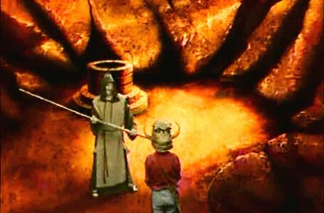 Knightmare Series 2 Team 7. The quest ends when Cedric pummels Neil with his staff.