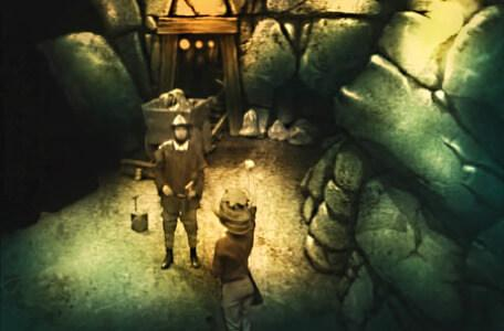 Knightmare Series 2 Team 7. Neil swears a pledge to Bumptious in the mine.