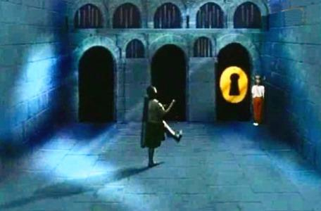 Knightmare Series 2 Team 8. Stuart rushes to unlock a door while chased by the automatum.