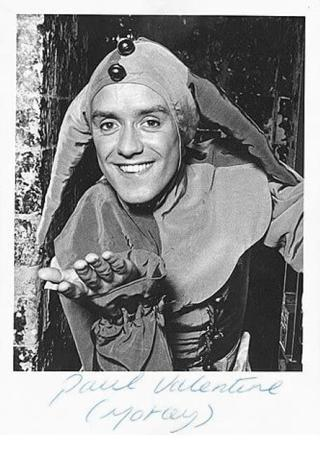 A 1989 character card of Motley the Jester (Paul Valentine).