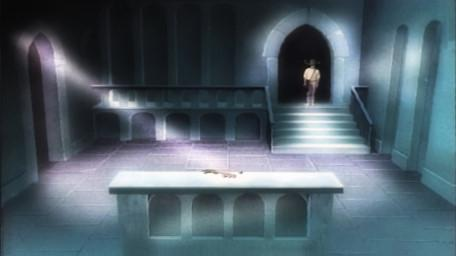 A variant of the Level 2 clue room, based on a handpainted scene by David Rowe, as shown on Series 3 of Knightmare (1989).