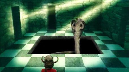The Lair of Kaa (Level 3 version), based on a handpainted scene by David Rowe, as shown on Series 3 of Knightmare (1989).