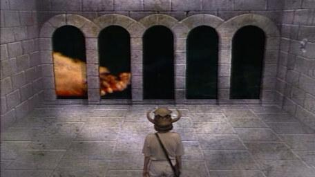 A variant of the Puzzle Room, based on a handpainted scene by David Rowe, as shown on Series 3 of Knightmare (1989).
