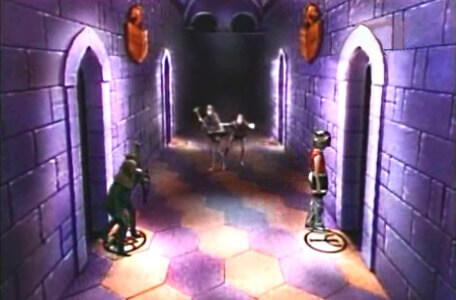 Knightmare Series 3 Team 12. Chris crosses the Corridor of the Catacombs, with goblins in pursuit.