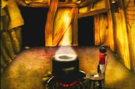 Knightmare Series 3 Team 12. Chris approaches a cauldron in Level 1.
