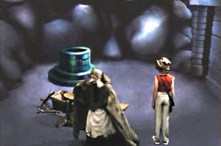 Knightmare Series 3 Team 12. Chris and Mrs Grimwold in the Level 1 wellway room.
