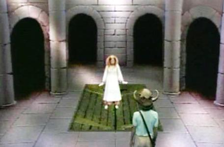 Knightmare Series 3 Team 6. Mellisandre falls through a trapdoor.