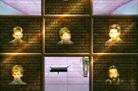 Knightmare Series 3 Team 9. The view of the room is restricted by tiles with the team's faces.