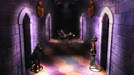 Series 3, Quest 12. Chris is pursued by four goblins across the corridor.