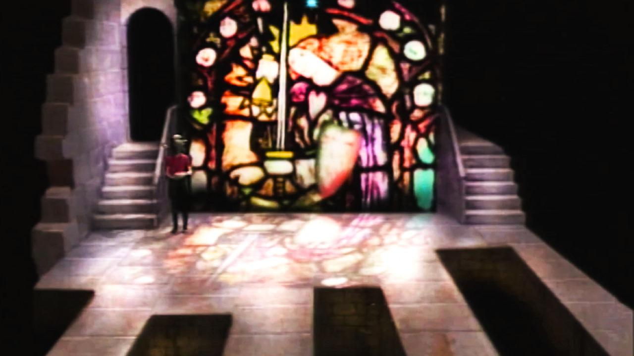 Series 3, Quest 4. Leo sprinkles dust at the stained glass window in Level 3.