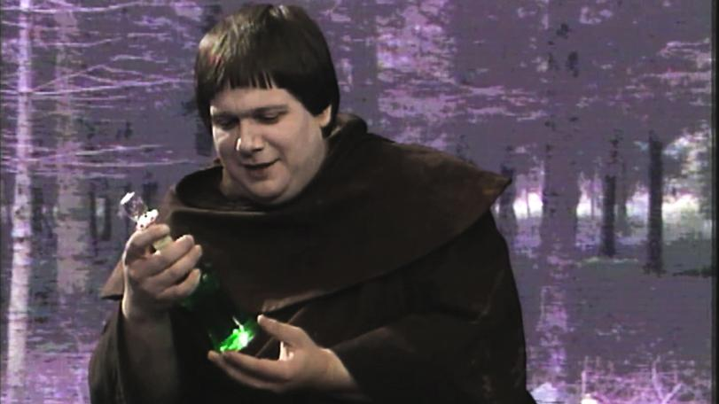 Series 4. Brother Mace, played by Michael Cule, receives a bottle of 'brandy'.