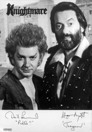 A 1991 character card of Treguard (Hugo Myatt) and Pickle (David Learner).