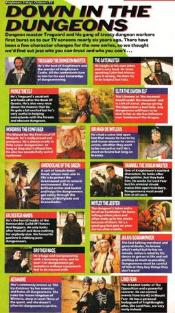 A full-page spread on Knightmare's Series 5 characters in the 14/09/1991 issue of Look In Magazine (p.13).