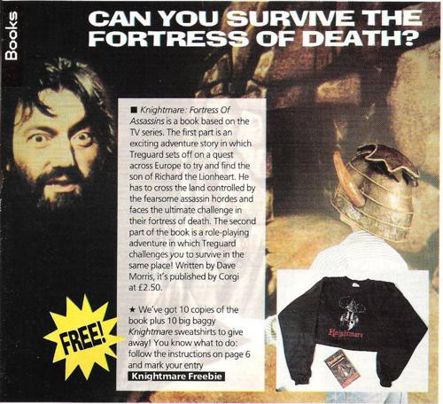 'Can you survive?' A competition segment for Knightmare in Look In magazine. Readers could win merchandise in the 23/02/1991 issue (p.7).