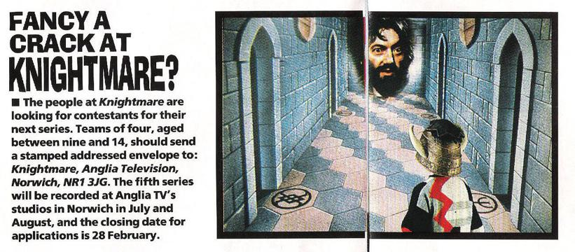 An invite to apply to the forthcoming fifth series of Knightmare in the 19/01/1991 issue of Look In Magazine (pp. 18-19).