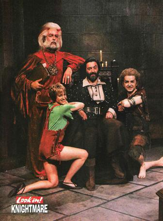 Publicity photo from the 14/09/1990 issue of Look In Magazine shows Treguard, Pickle, Hordriss (Clifford Norgate) and Elita (Stephanie Hesp) in the antechamber (p.12).