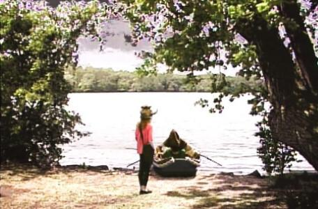 Knightmare Series 5 Team 3. Sarah approaches a boat on the riverbank.