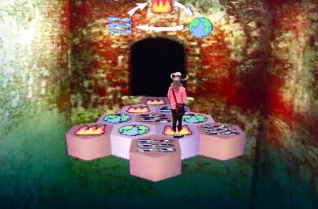 Knightmare Series 5 Team 3. Sarah progresses through a causeway of fire, earth and water.