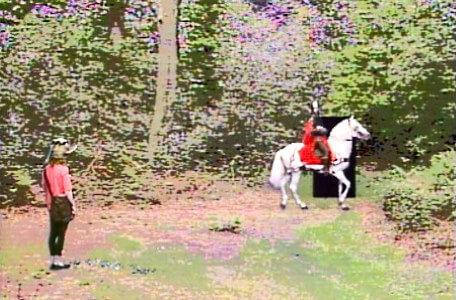 Knightmare Series 5 Team 3. Sir Hugh de Wittless rides into a clearing.