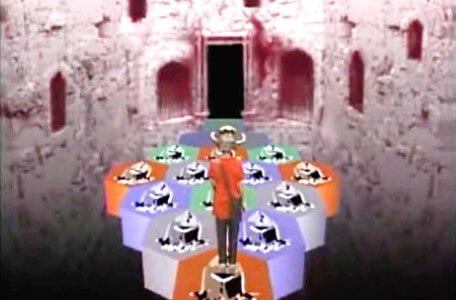 Knightmare Series 5 Team 4. Ben faces a causeway of coloured tiles in Level 1.