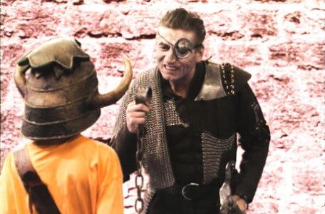 Knightmare Series 5 Team 7. Skarkill threatens Christopher with his irons.