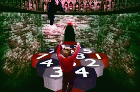 Knightmare Series 6 Team 3. Alan falls from the causeway after the timer runs out.
