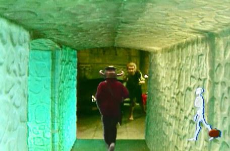 Knightmare Series 6 Team 5. Ben sprints as Pickle beckons from the antechamber.