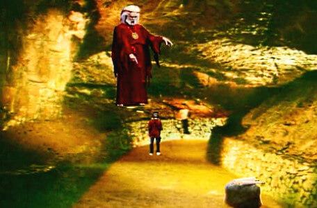 Knightmare Series 6 Team 5. Hordriss points at Ben in the Caverns of Gore.