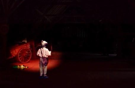 Knightmare Series 7 Team 7. Barry uses a glowlight to search a dark barn for a staff piece.