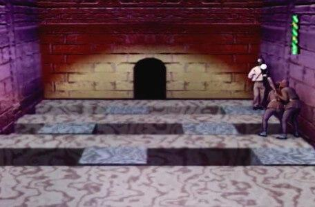 Knightmare Series 7 Team 7. Barry must backtrack on a floorpuzzle into the line of waiting goblins.