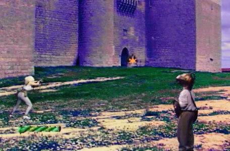 Knightmare Series 7 Team 7. Romahna shoots at goblins from a distance in a sandy setting.