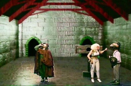Knightmare Series 7 Team 7. Barry rescues Romahna from the pillory with Sylvester Hands incapacitated.