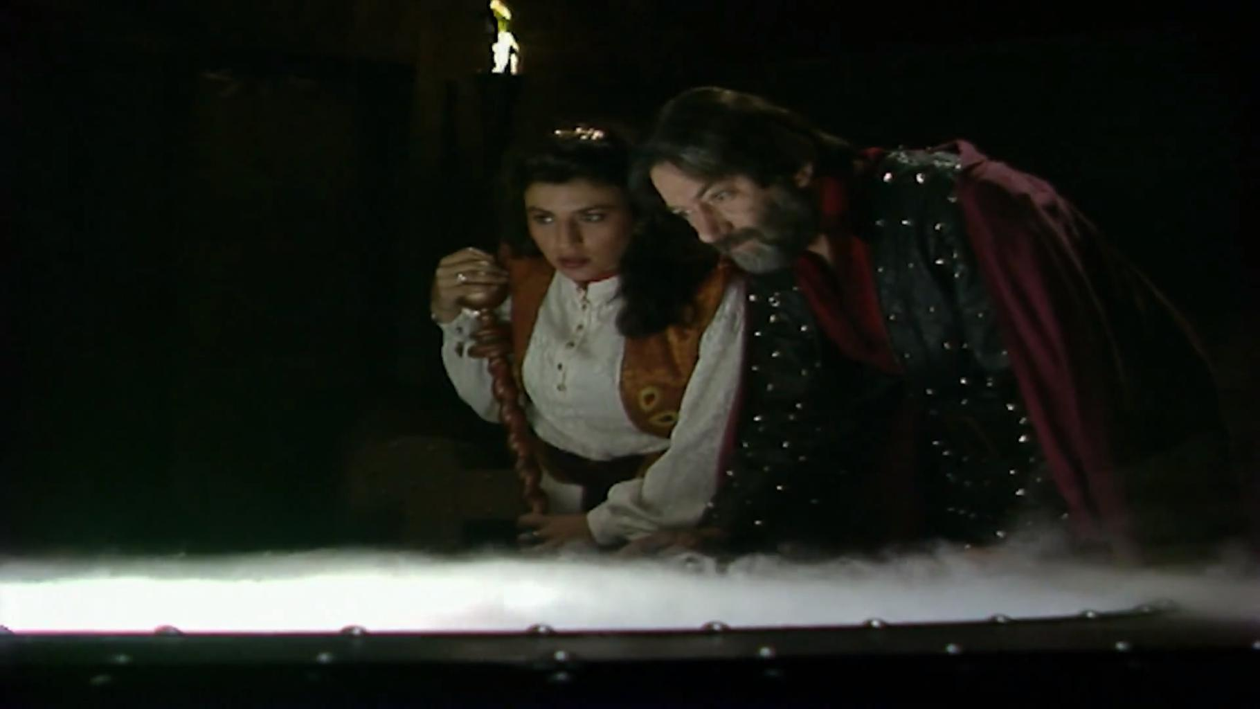 Majida and Treguard looking into pool, Series 8 Episode 1