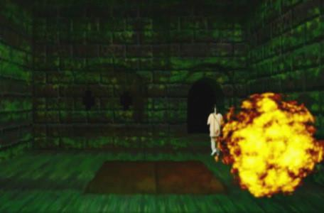 Knightmare Series 8 Team 4. Michael is engulfed by a fireball as he attempts to take the door from the trapdoor room.