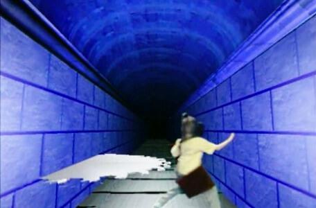 Knightmare Series 8 Team 6. Dunstan runs away from a blade in the Corridor of Blades.
