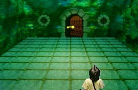 Knightmare Series 8 Team 6. Dunstan directs a key to open a door at the other side of the room.