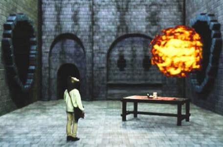 Knightmare Series 8 Team 7. A fireball passes across the clue room in Linghorm.