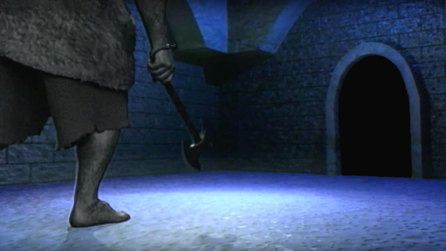 A troll in pursuit. From Series 8, Team 4 of Knightmare (1994)