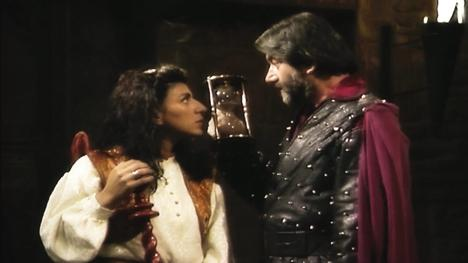 Knightmare Series 8. Treguard holds an hourglass as he debates whether to begin a final quest.