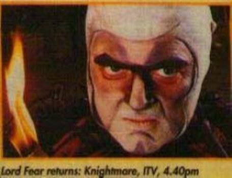 Promotional shot of Mark Knight as Lord Fear from What's on TV Magazine in September 1994.